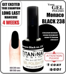 hybrydowy lakier - GEL Polish 8ml - soak off - Monaco Black (no. 238)
