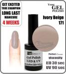 Hybrydowy lakier - GEL Polish 8ml - soak off - Ivory beige (171)