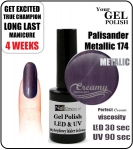 Hybrydowy lakier - GEL Polish 8ml - soak off - Metallic Palisander (no. 174)