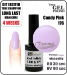 Hybrydowy lakier - GEL Polish 8ml - soak off - Candy Pink (no. 176)