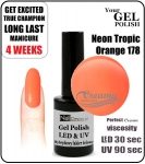 Hybrydowy lakier - GEL Polish 8ml - soak off - Neon tropic orange (no. 178)