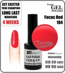 Hybrydowy lakier - GEL Polish 8ml - soak off - Focus red (no. 184)