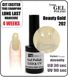 Hybrydowy lakier - GEL Polish 8ml - soak off - Beauty gold (no. 202)