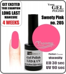 Hybrydowy lakier - GEL Polish 15ml - soak off - Sweety pink (no. 205)