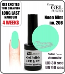Hybrydowy lakier - GEL Polish 8ml - soak off - Neon mint (no. 206)