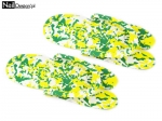 Rubber flip flops for pedicures - green-yellow