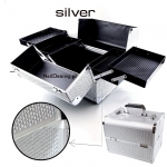 Aluminum box for cosmetics - silver with zircons