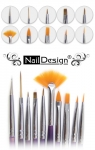 Set of 10 nail art brushes Japan