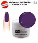NEW GEL Polish - Soak Off 5ml - Hollywood Nail fashion - Plaume / Plum (134) Medium Viskos
