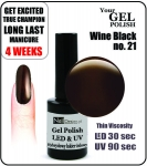 Żel Hybrydowy - GEL Polish 8ml - soak off - wine black (no. 21) winna czern