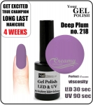 Hybrydowy lakier - GEL Polish 8ml - soak off - Deep Plum (no. 218)