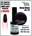 Żel Hybrydowy - GEL Polish 8ml - soak off - deep black (no. 24)