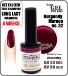 Hybrydowy lakier - GEL Polish 8ml - soak off - burgundy maroon (no. 32)