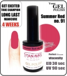 Żel Hybrydowy - GEL Polish 8ml - soak off - Summer red (no. 91)