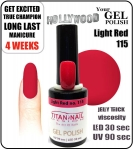 Hybrydowy lakier - GEL Polish 8ml - soak off - Light Red (no. 115)