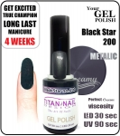 Hybrydowy lakier - GEL Polish 8ml - soak off - Black star (no. 200)