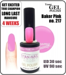 Hybrydowy lakier - GEL Polish 8ml - soak off - Baker Pink (no. 217)