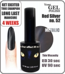 Hybrydowy lakier - GEL Polish 8ml - soak off - Red Silver (no. 52) cat eye