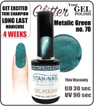 Hybrydowy lakier - GEL Polish 15ml - soak off - metalic green (no. 70)  CHristmass