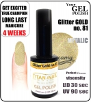 Hybrydowy lakier - GEL Polish 15ml - soak off - glitter gold (no. 81)  new year