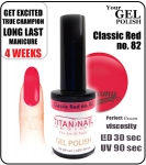 Żel Hybrydowy - GEL Polish 8ml - soak off - classic red (no. 82)
