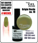 Hybrydowy lakier - GEL Polish 15ml - soak off - Grigio Verde (no. 19)