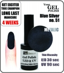 Żel Hybrydowy - GEL Polish 8ml - soak off - Blue-Silver Effect-M (no. 51)