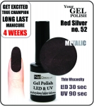 Żel Hybrydowy - GEL Polish 8ml - soak off - Red Silver (no. 52)