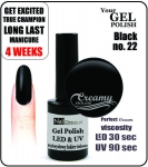 Żel Hybrydowy - GEL Polish 8ml - soak off - black (no. 22)