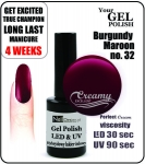 Żel Hybrydowy - GEL Polish 8ml - soak off - burgundy maroon (no. 32)