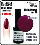 Żel Hybrydowy - GEL Polish 15ml - soak off - light claret (no. 27)