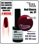 Żel Hybrydowy - GEL Polish 15ml - soak off - red cherry 15ml (no. 31)