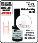 Hybrydowy lakier - GEL Polish 8ml - soak off - white exciting (no. 6)